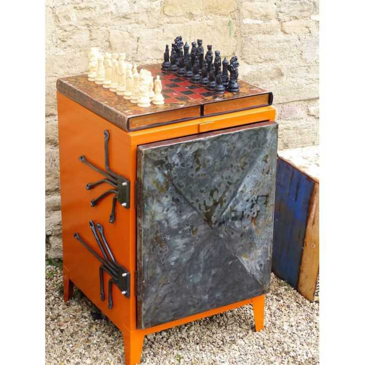 Orange retro industrial cabinet made for money for nothing BBC 2