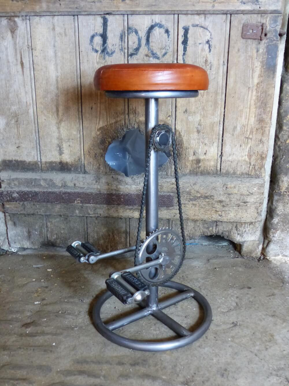 Bike Seat Pedal Bar Stools - Tan Leather Bar Stools With Bike Pedals