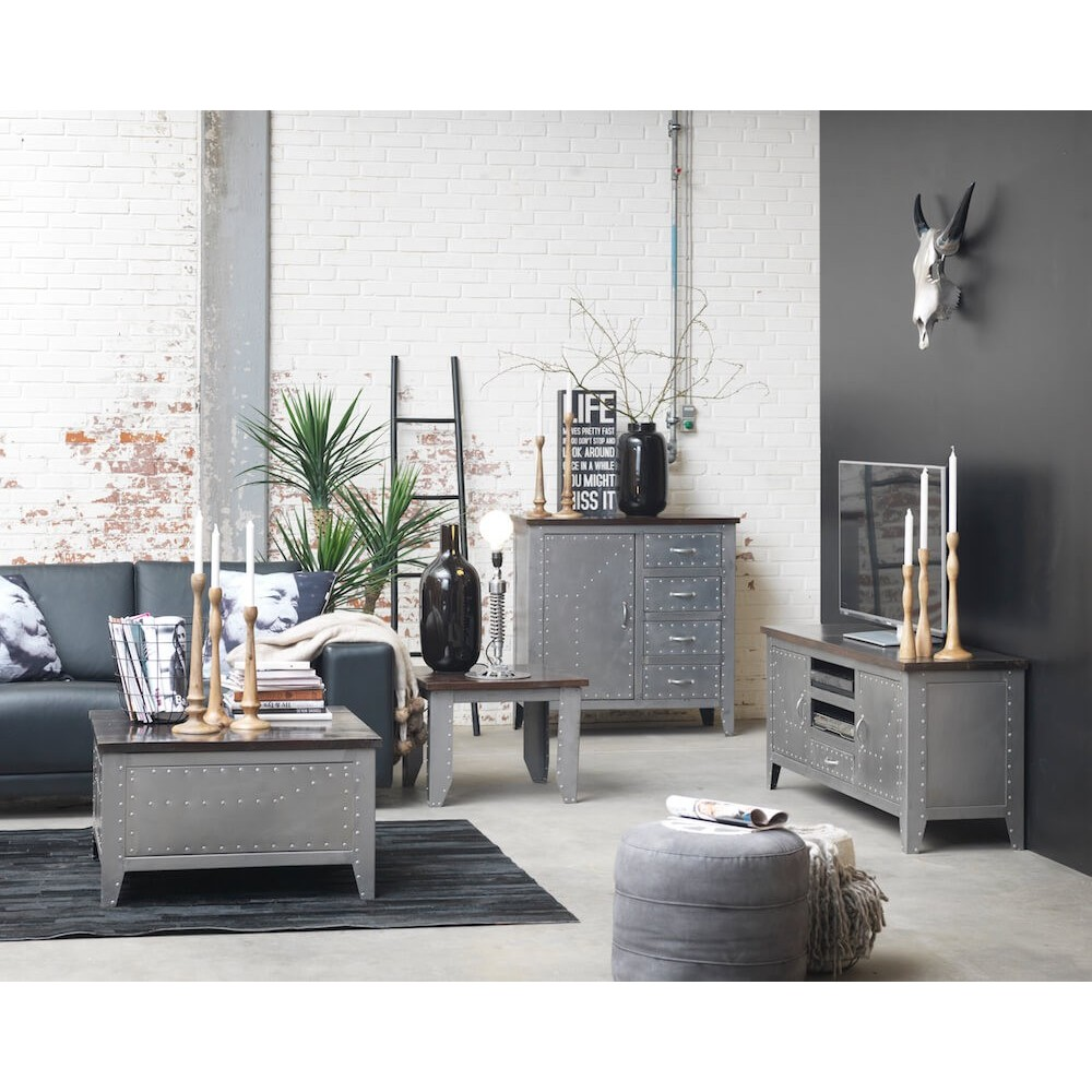 Silver Modern Industrial Retro Style Tv Unit Stand