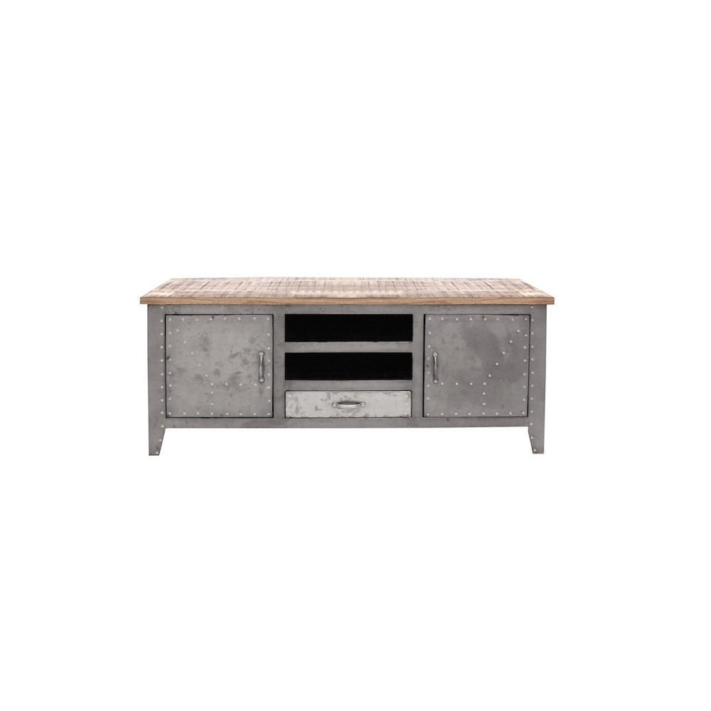 Silver Modern Industrial Retro Style Tv Unit Stand # Meuble Tv Style Loft