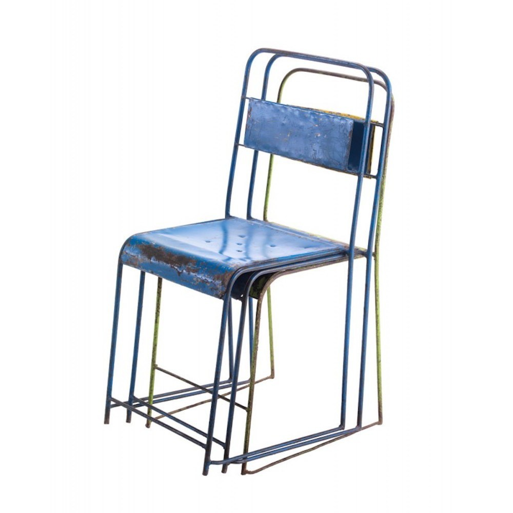 Antique Vintage Industrial Stacking School Chair