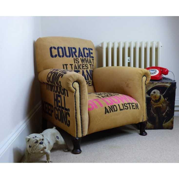 Vintage Winston Churchill Chair | Rare Luxury Mustard Moleskin Armchair