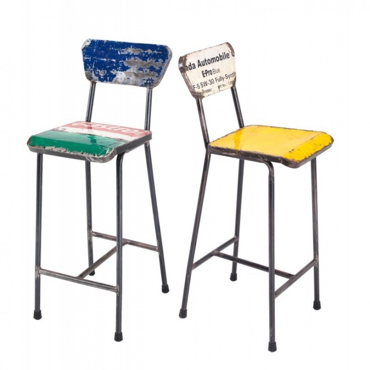 Recycled Metal Bar Stools Urban Oil Drum