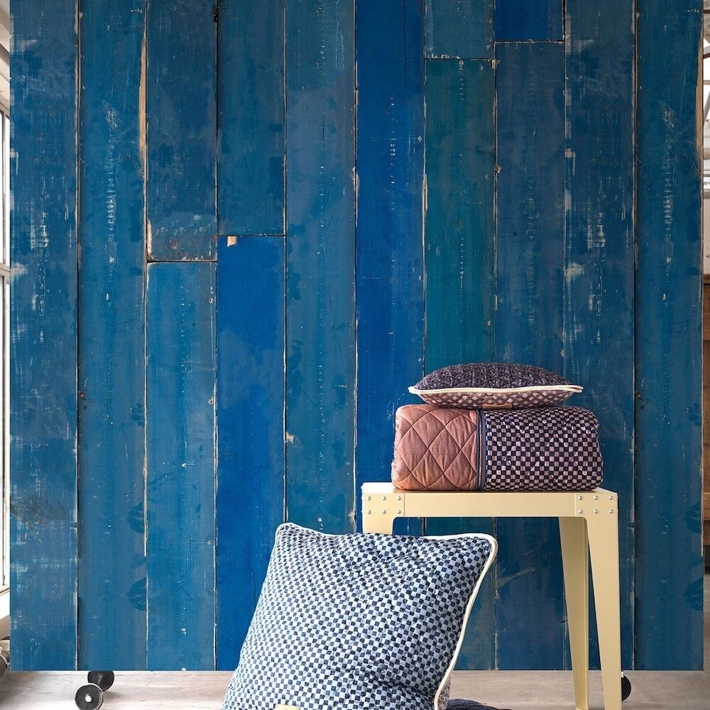 Wallpaper That Looks Like Wood Weathered Blue Planks Uk