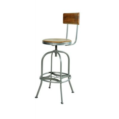 Adjustable Swivel Industrial Wood Bar Stool With Backs