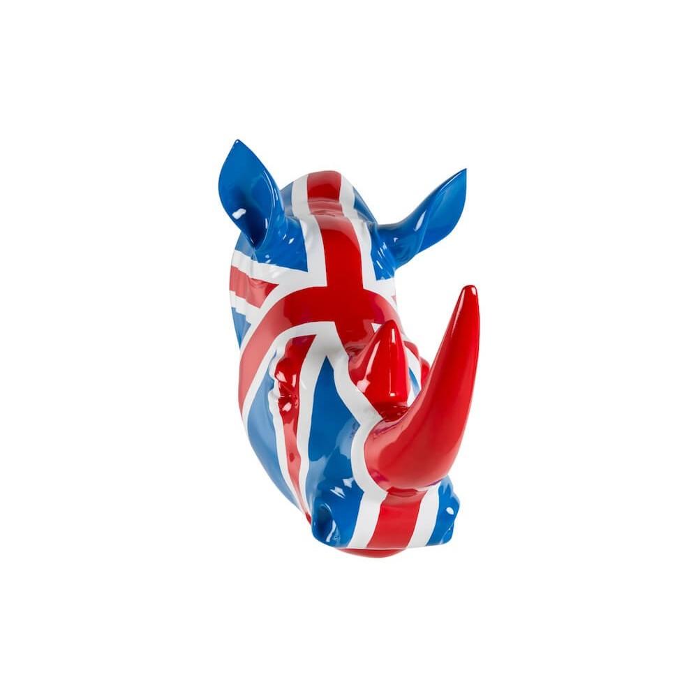 Rhino Head Wall Mount Union Jack Flag Colour