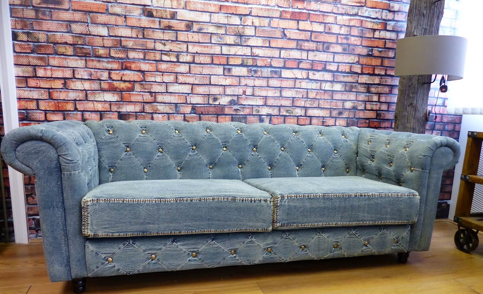 Picture of: Blue Denim Chesterfield Sofas Blue Vintage Couch Made From Jeans
