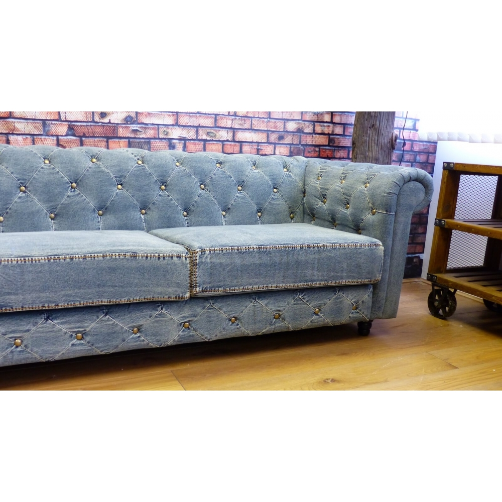 Blue Denim Chesterfield Sofas Blue Vintage Couch Made