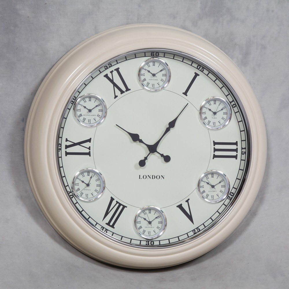 50s Style Cream Face Wall Clock Station Clocks Vintage