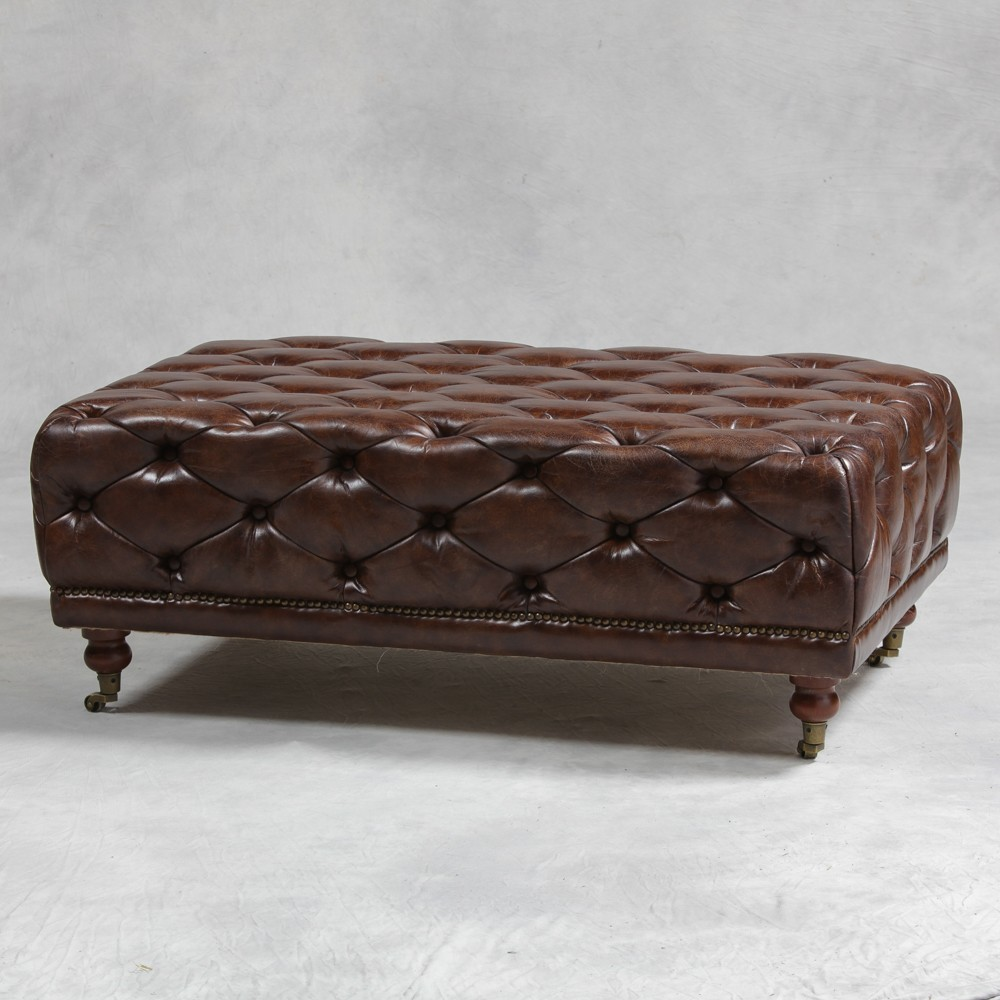 Vintage Leather Button Detail Large Footstool U0026 Coffee Table ...