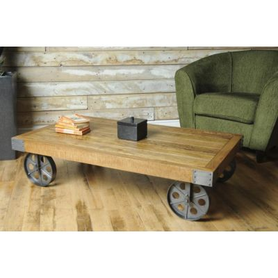 Vintage Helsing Cart Coffee Table - Take the rail road with this brand new design from Smithers which features a solid wooden te