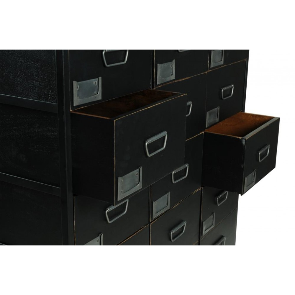 Tallboy Black Apothecary Chest Of Drawers Vintage Industrial
