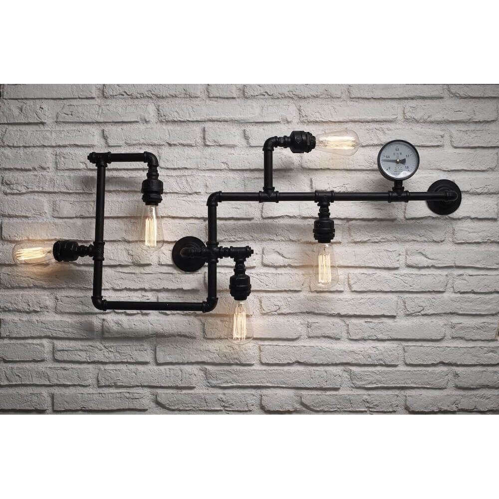 Industrial Pipe Wall Light: Industrial Vintage Black Pipe Tube Wall Ceiling Bulb Lamps