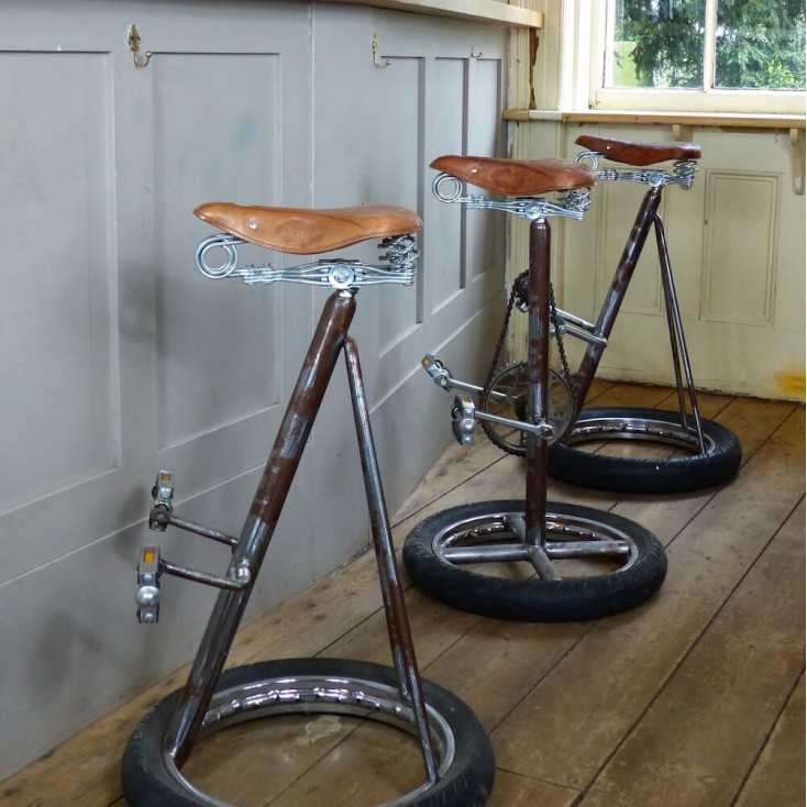 Kitchen With Tractor Seat Bar Stools