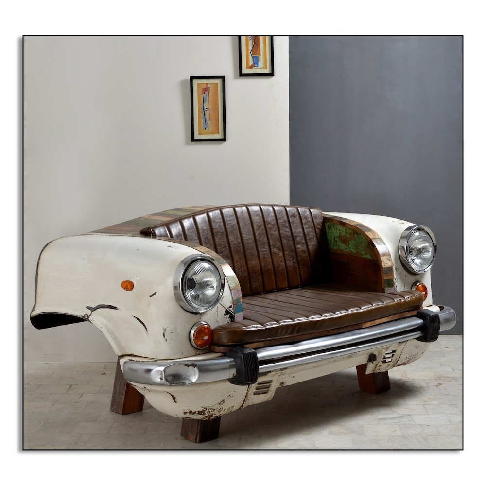 White Car Seat Sofa Chair Front And Rear End Made Old ...