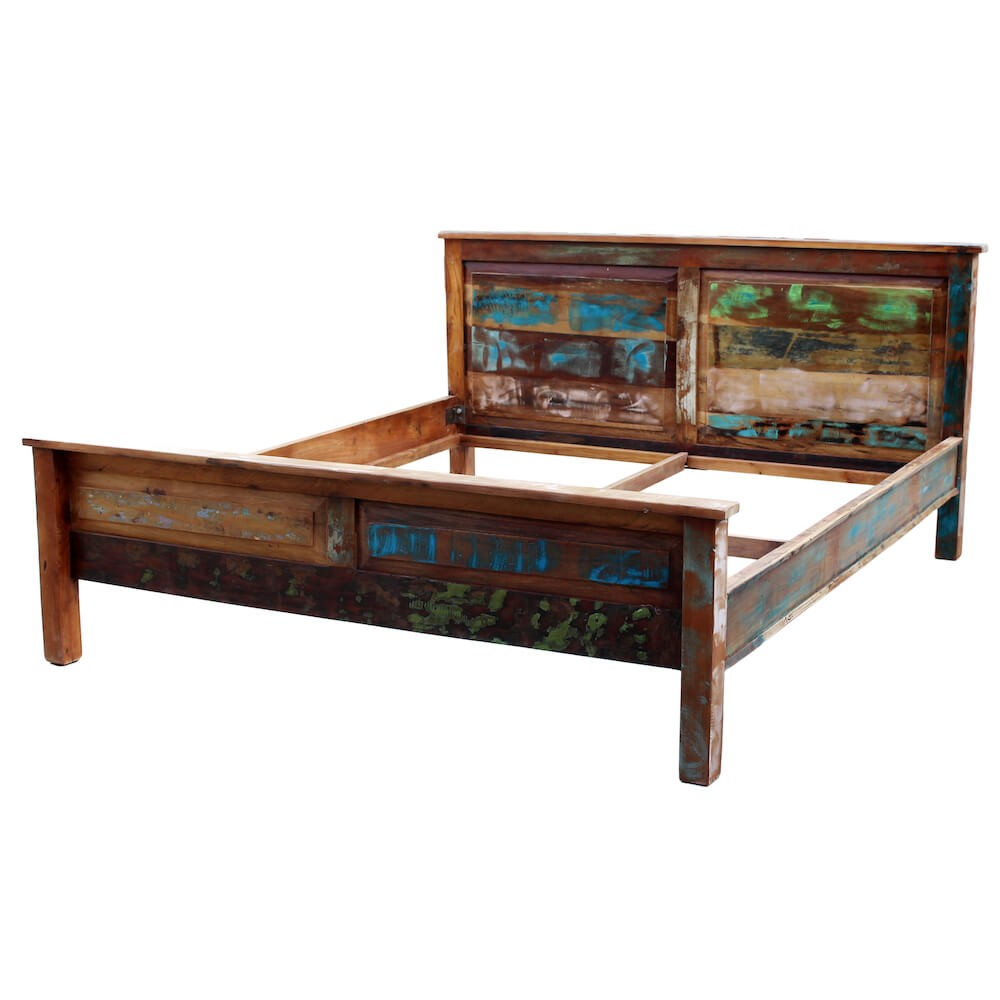 Reclaimed Wood Super King Bed Recycled Wooden Rustic Design Uk