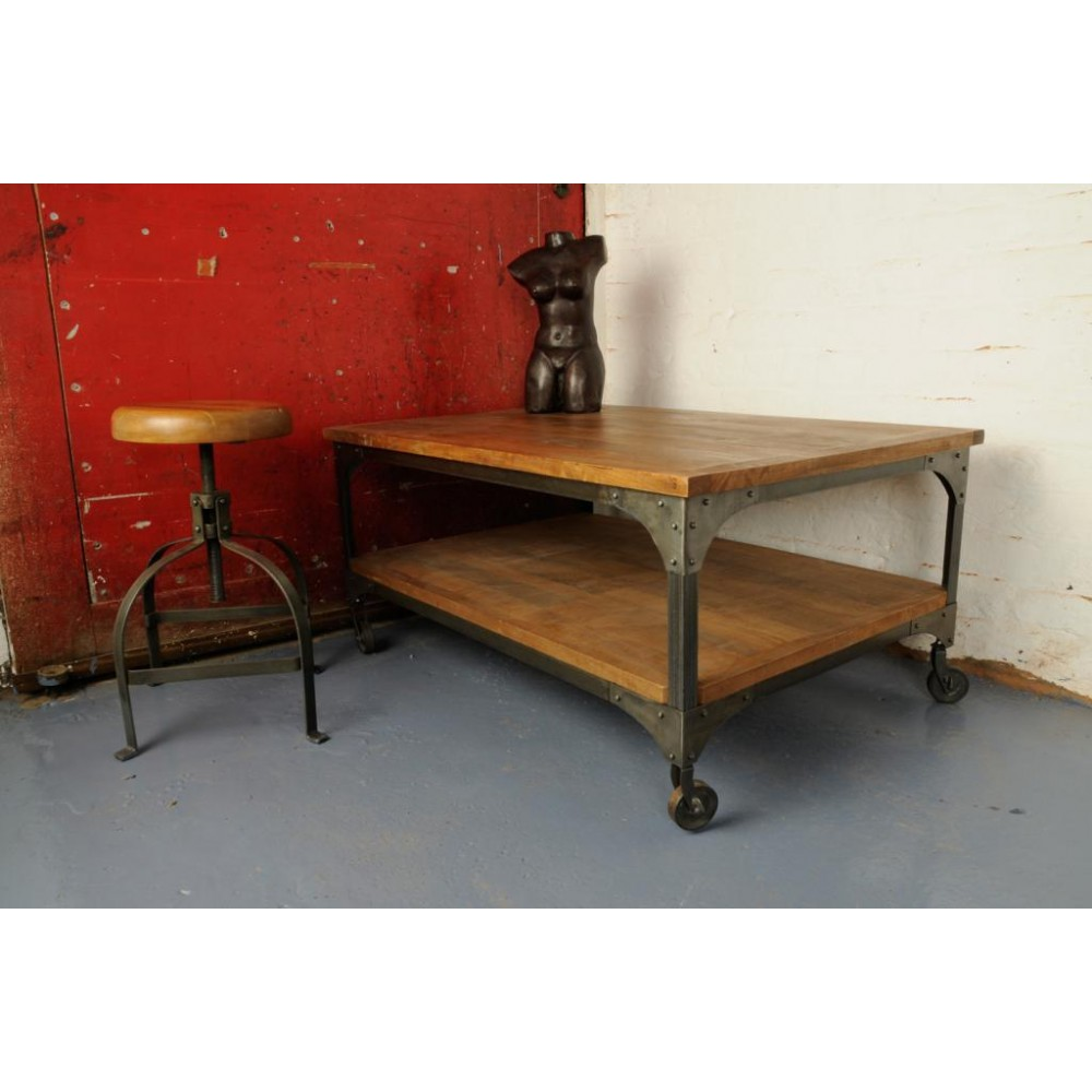 Industrial Cart Coffee Table With Storage