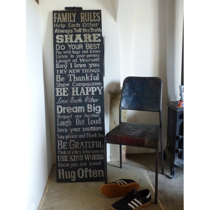 large wooden family rules sign