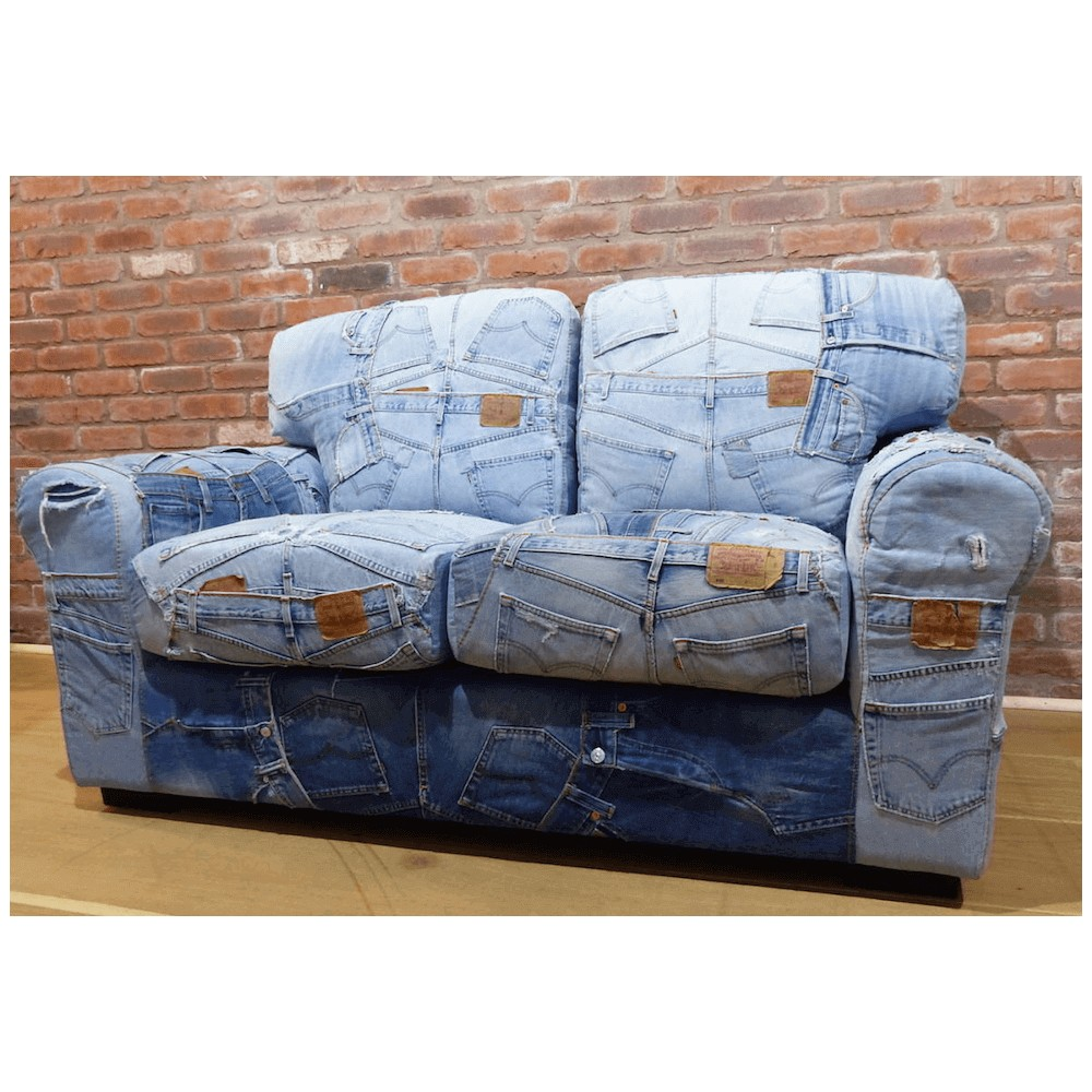 Blue Recycled Jeans Denim Sofa Denim Couch Retro Vintage