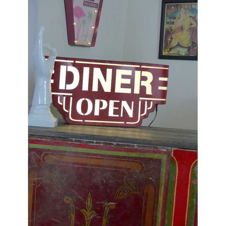 Red American Wall Diner Sign Light Up Metal Box