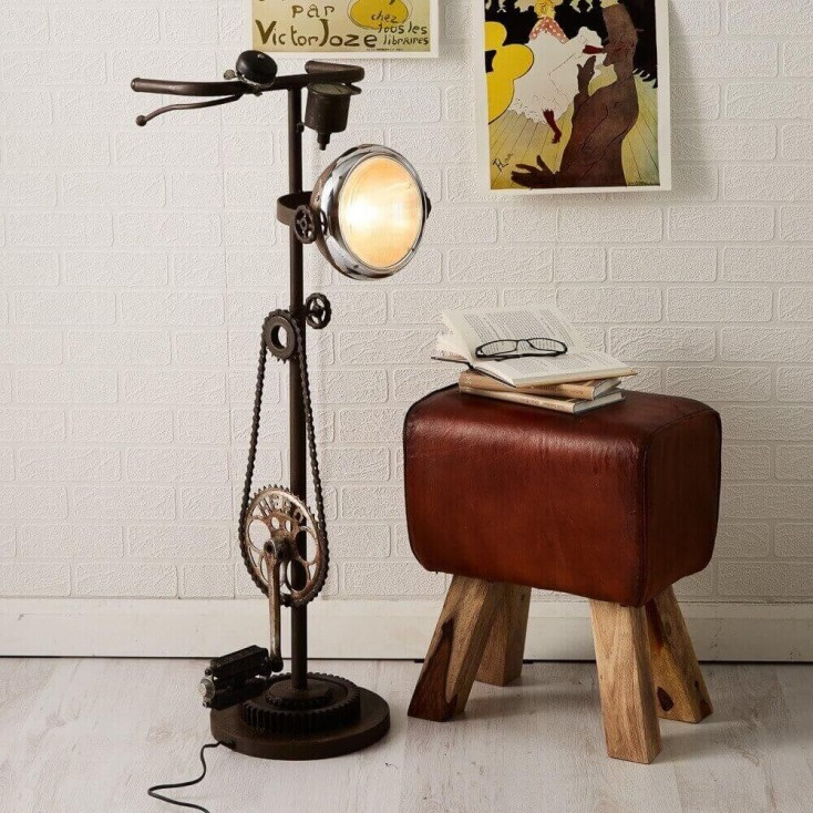 Bicycle Bike Floor Lamp With Handle Bars Cogs Foot Pedal
