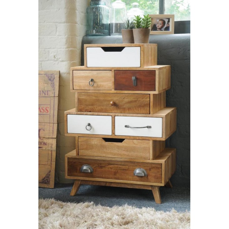 Vintage Stacked Storage Chest Of Drawers Living Room