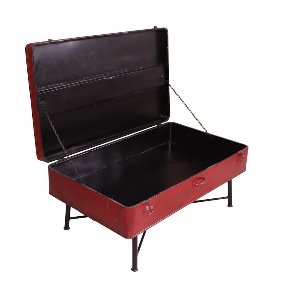 Red trunk coffee storage metal table use me recycled reclaimed Trunks coffee tables