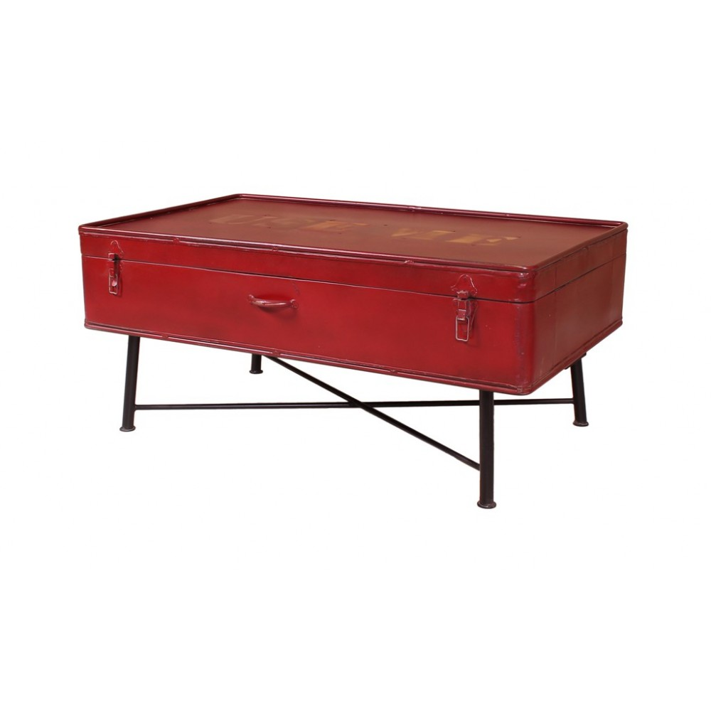 Red trunk coffee storage metal table use me recycled reclaimed Trunk coffee tables