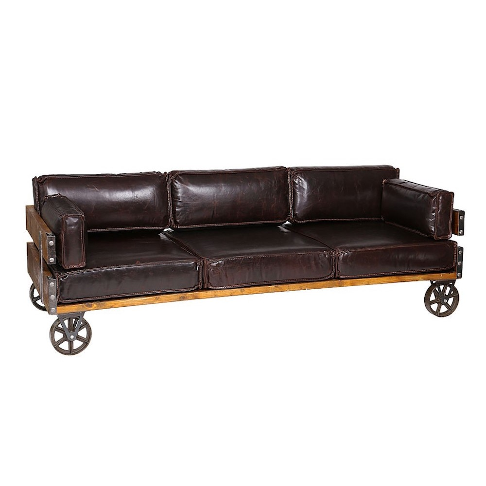 Industrial furniture sofa leather sofa warehouse couch for Sofa industrial