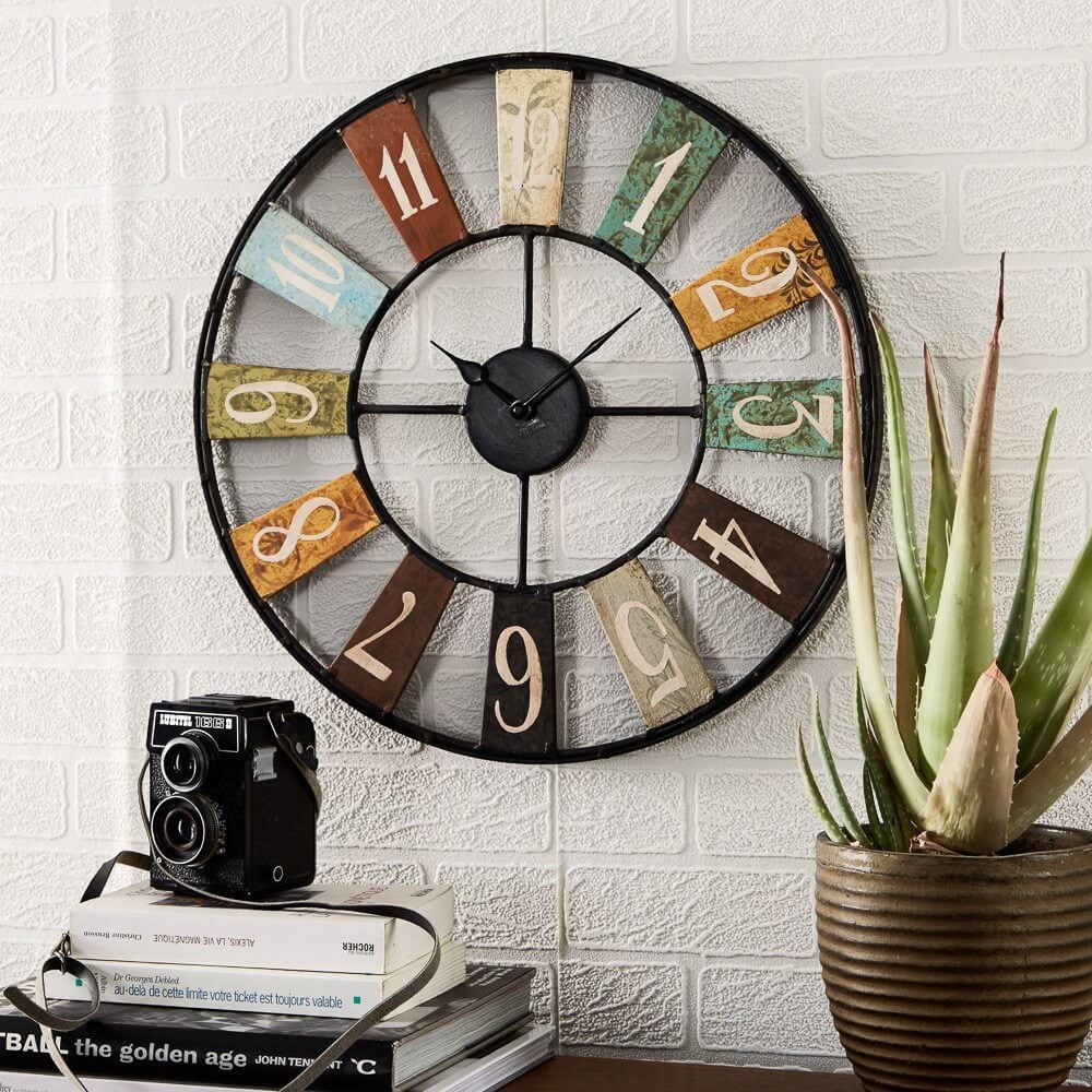 Skeleton Wall Clock Metal Roman Numeral Colours