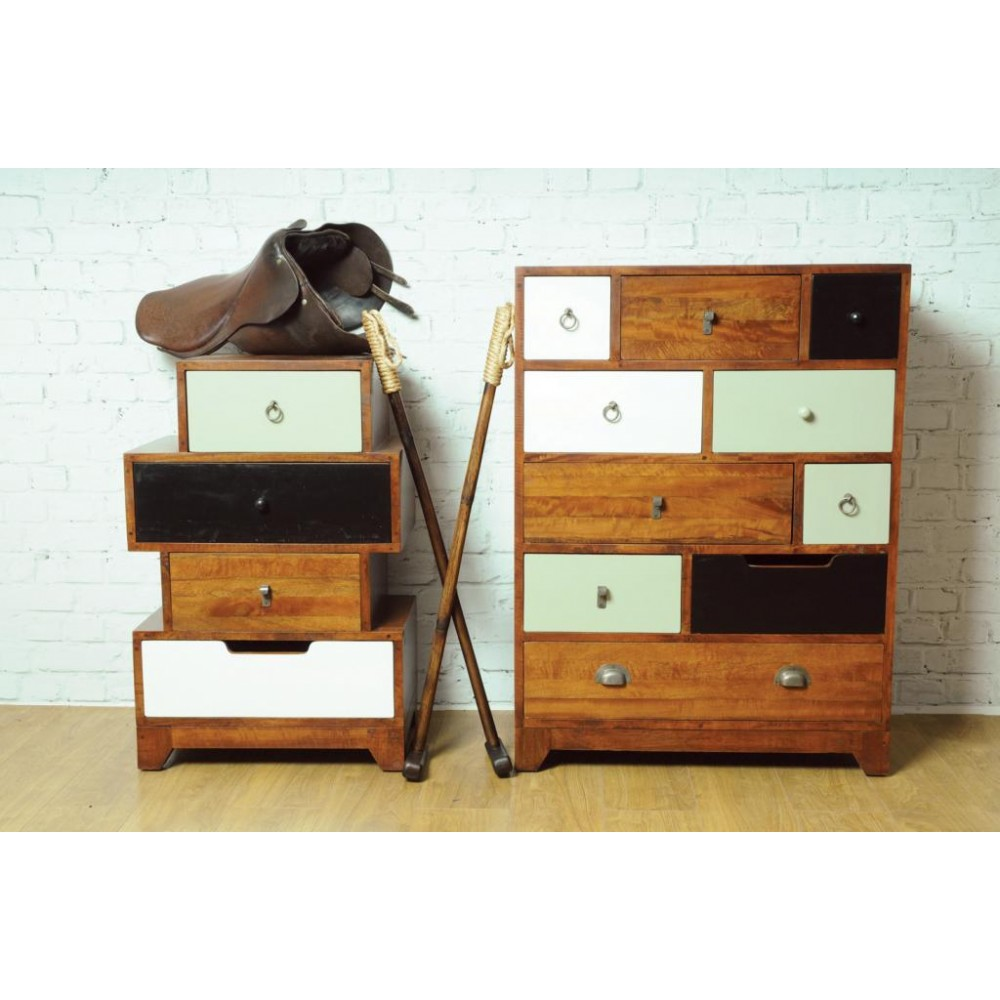 Vintage Contemporary Tall Chest Of Drawers Retro Bedroom