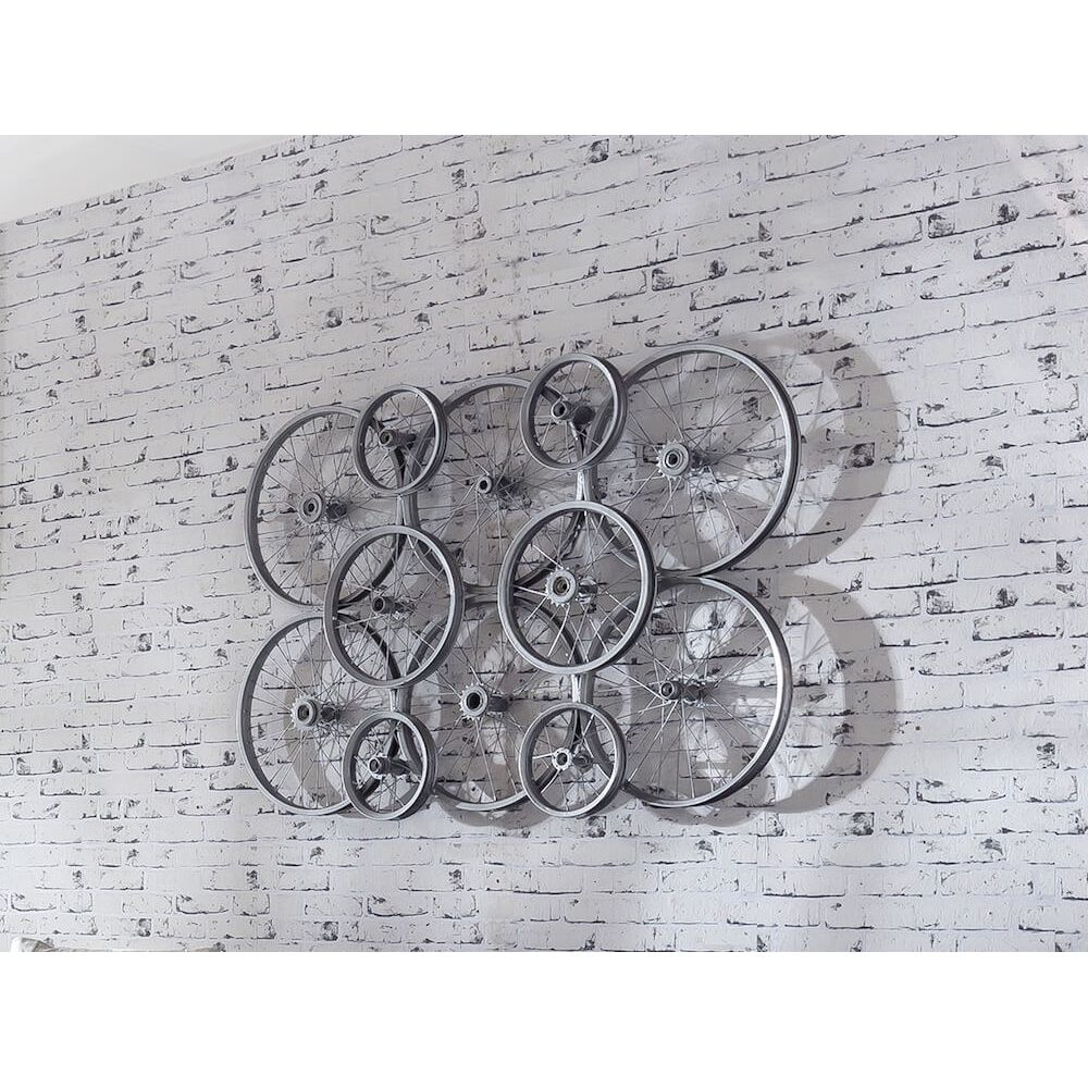 Wall art company bicycle bike wheels decoration recycled for Bicycle wheel wall art