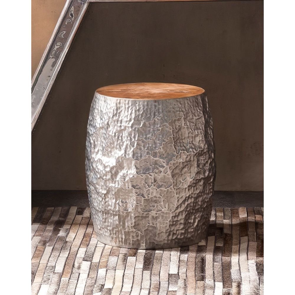 Tree Trunk Cooper Silver Side Table