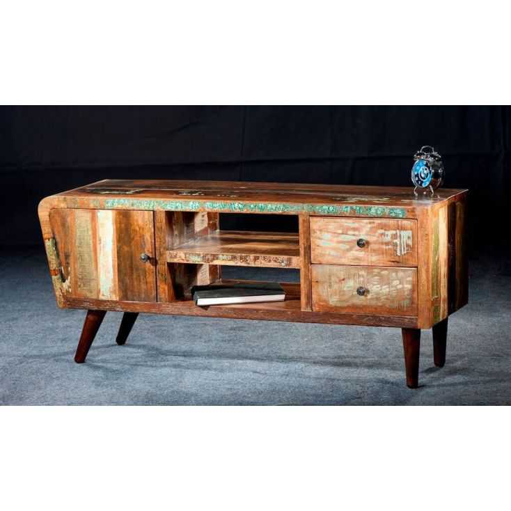 Beautiful New York Loft Reclaimed Wood Coffee Tables: Reclaimed Tv Cabinet Recycled From Old Boats Retro Vintage