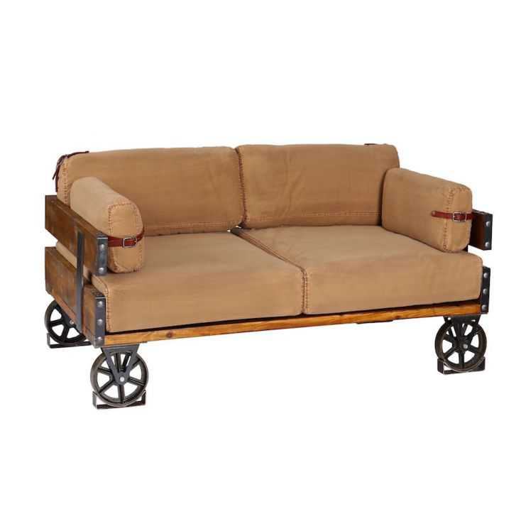 vintage industrial sofa khaki cotton low back deep funky style couch. Black Bedroom Furniture Sets. Home Design Ideas