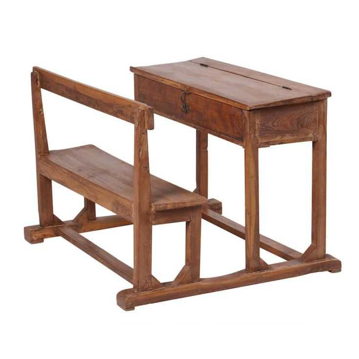 Vintage Wooden Double Kids School Desk With Storage And
