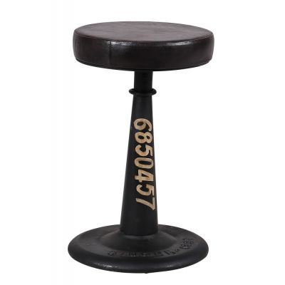 Black Leather Industrial Stool