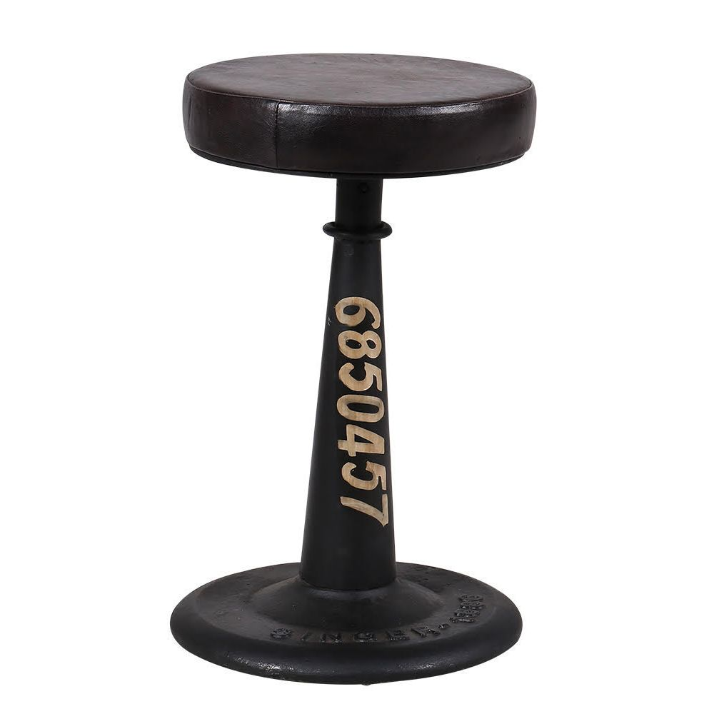 Black Vintage Industrial Leather Stool Urban Adjustable