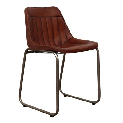 Leather Industrial Cowhide Dining Chair Industrial Furniture Smithers of Stamford £ 233.00 Store UK, US, EU