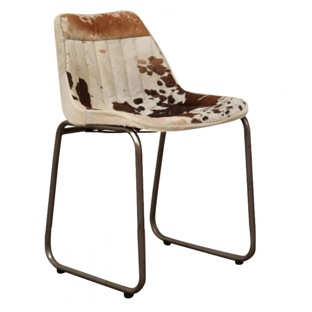 Industrial Leather Or Cowhide Dining Chair Retro Vintage