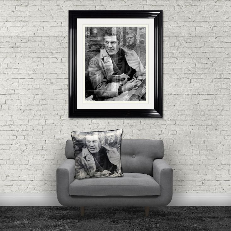 Steve McQueen Cushion Cushions £ 50.00 Store UK, US, EU, AE,BE,CA,DK,FR,DE,IE,IT,MT,NL,NO,ES,SE