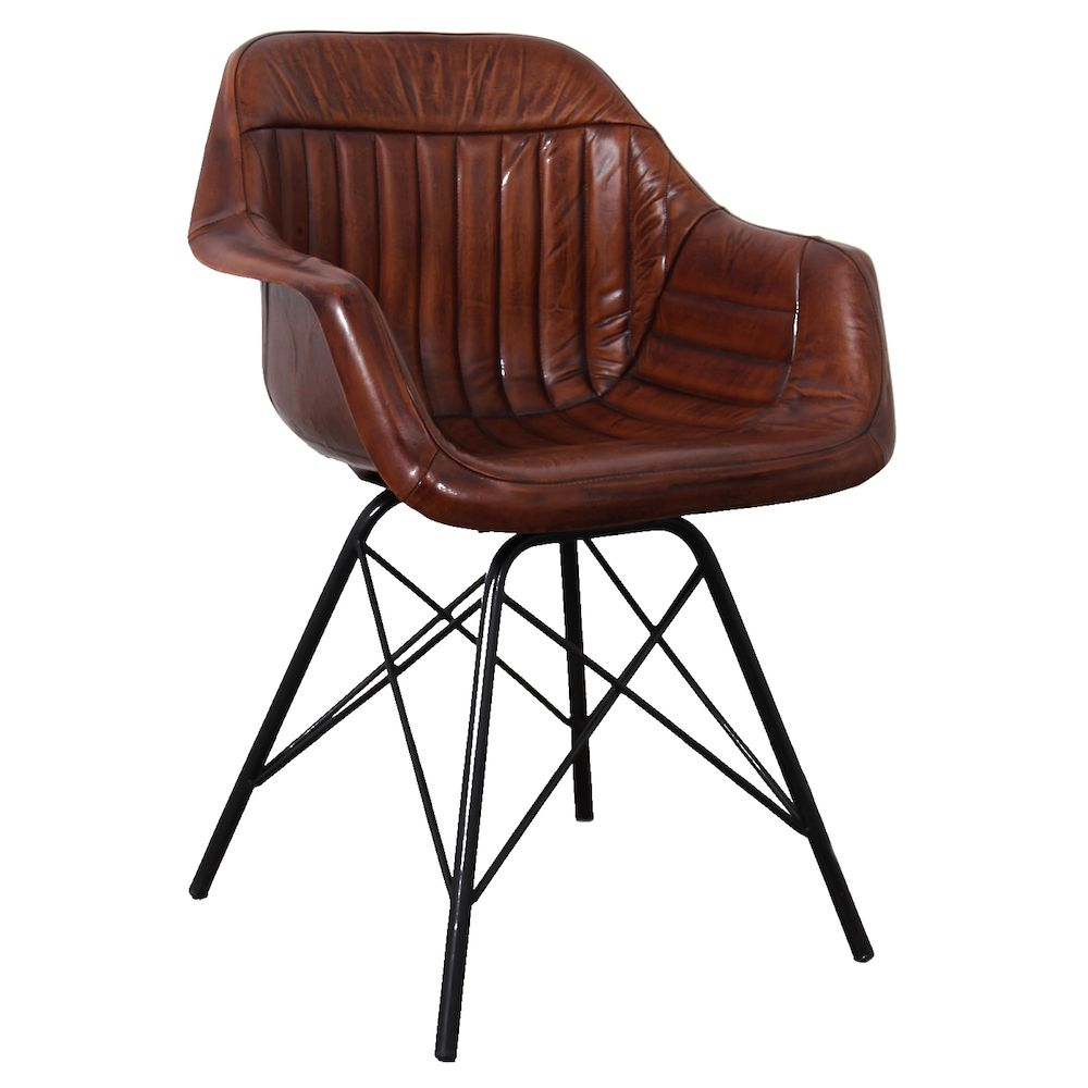 Leather Metal Dining Chair | Industrial Leather Dining Chair
