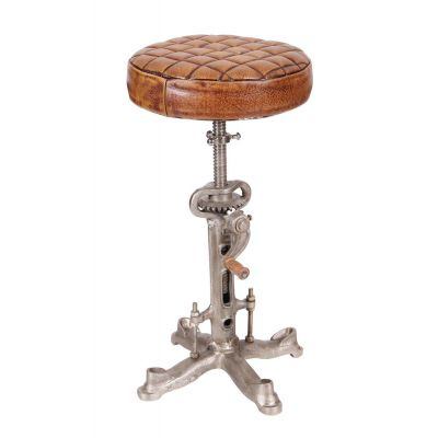 Industrial Leather Bar Stool