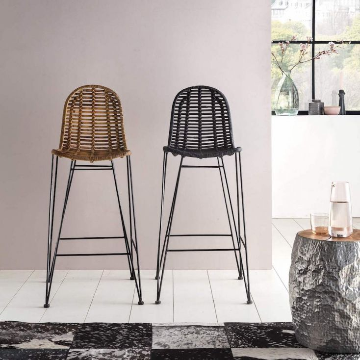 Scandinavian Rattan Bar Stool Vintage Contemporary Bar