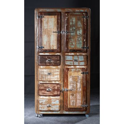 Fridge Boat Wood Tall Cabinet