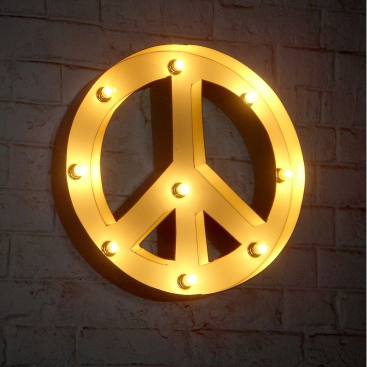 Peace Symbol Bulb Lamp Retro Signs Smithers of Stamford £ 161.00 Store UK, US, EU