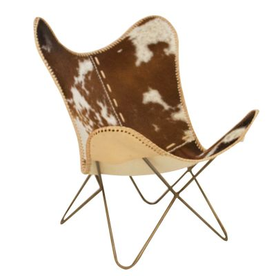 Cowhide And Leather Butterfly Chair Designer Furniture £ 285.00 Store UK, US, EU