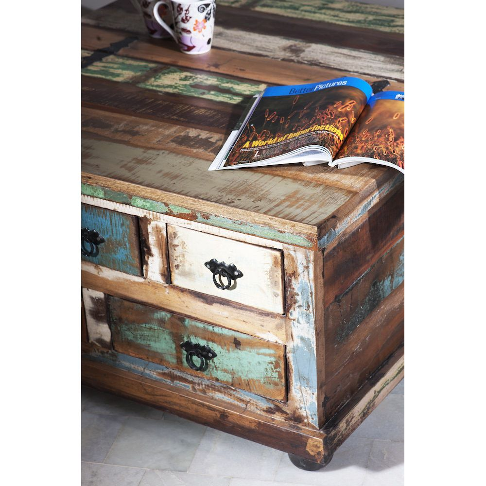Large Square Coffee Table With Storage Reclaimed Wood