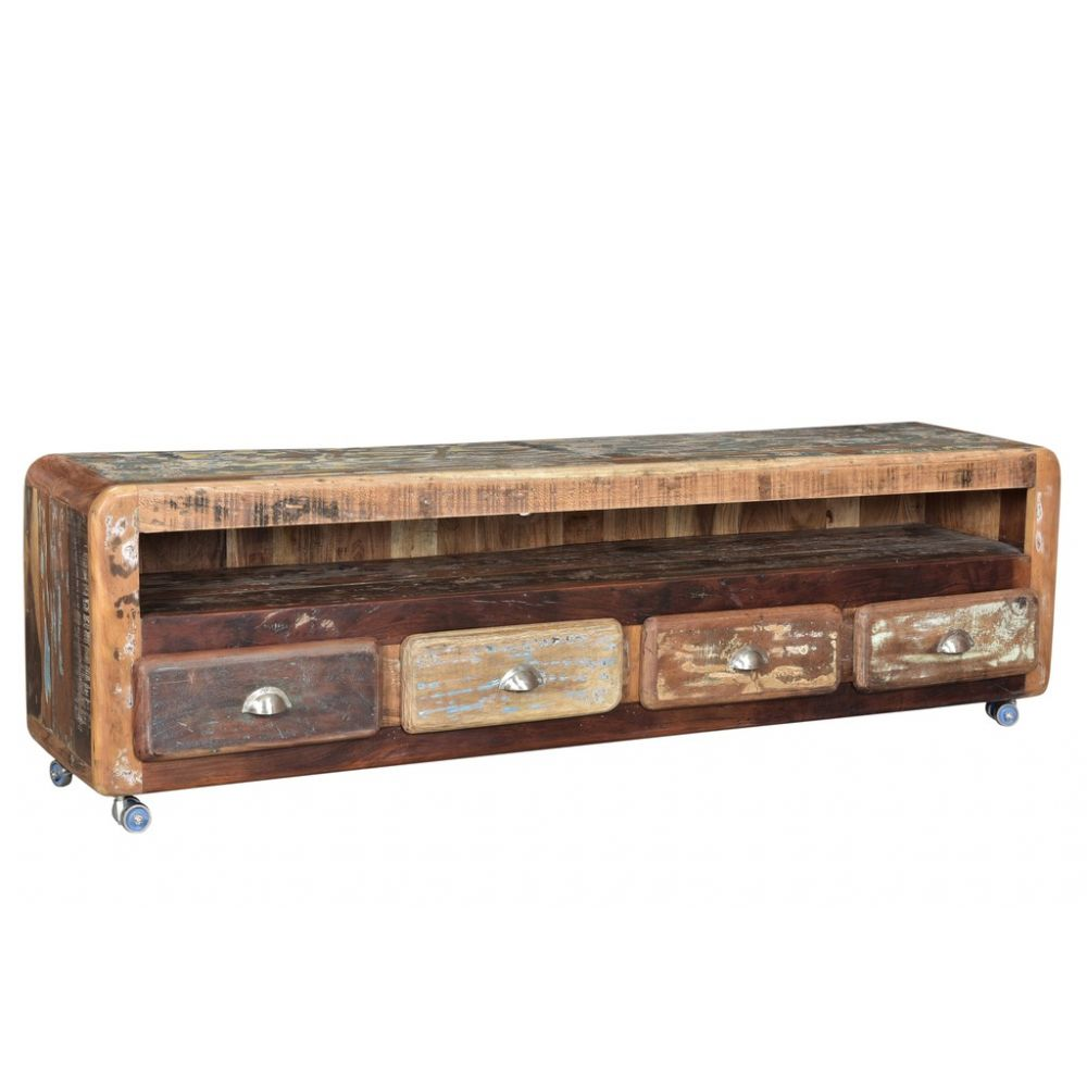Long And Low Tv Stand Modern Wood Cabinet Recycled Retro