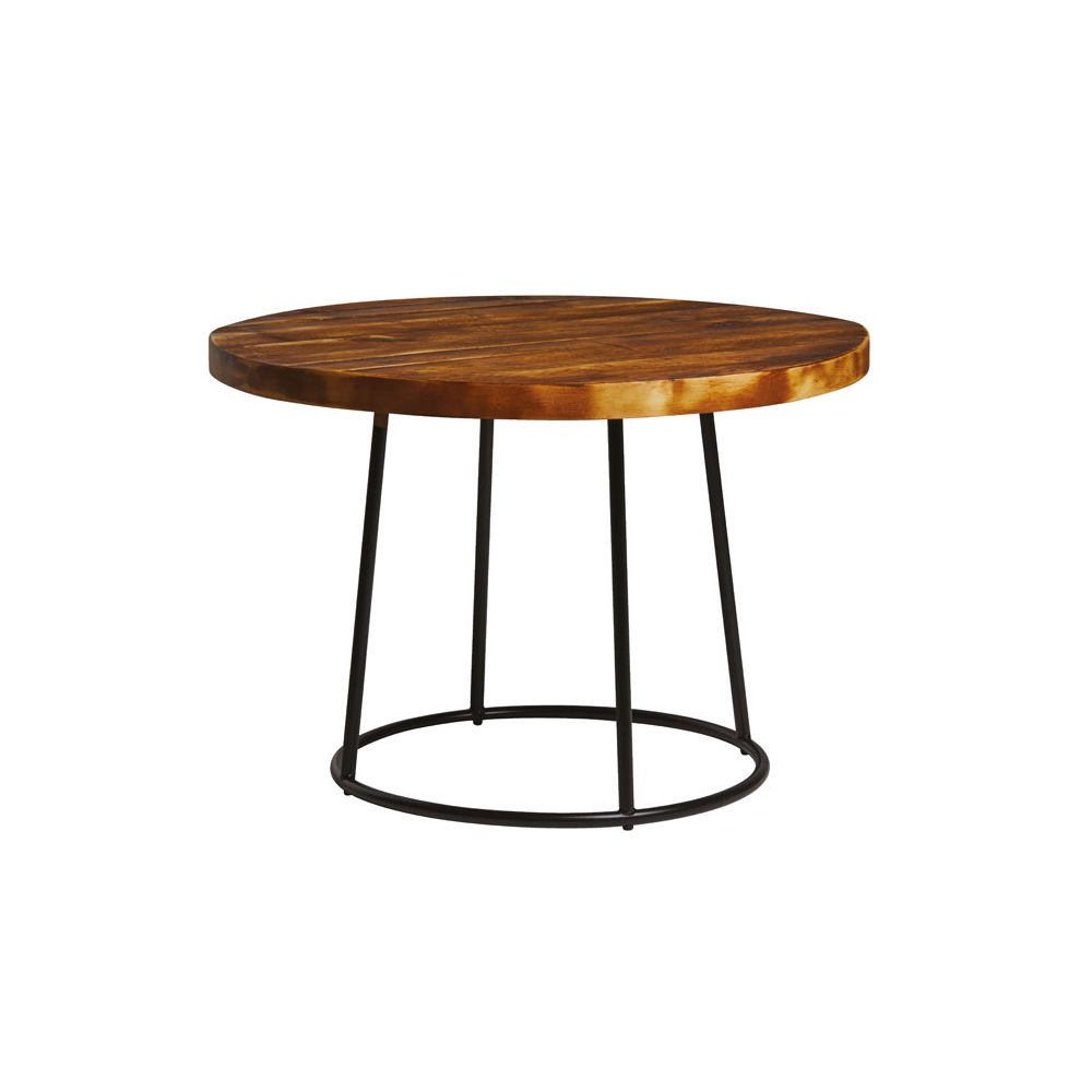 Round Red Coffee Table: Minimal Round Wood Iron Coffee Side Table • Red • Yellow